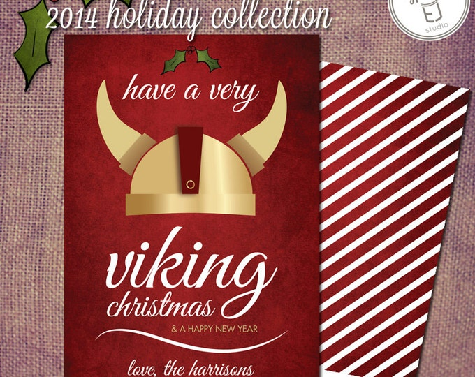 Viking Warrior Holiday Christmas Greeting Card