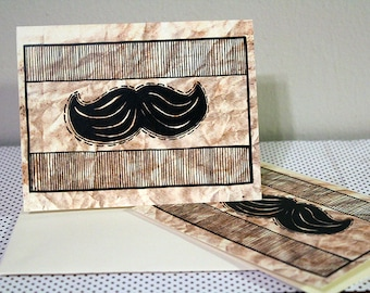 Mustache Greeting Cards, Blank Inside, Set of 25 (5.5 x 4.25 inch)