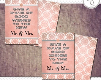 Printable Vintage Modern Style Wedding Wand Card (2 x 3.5 inch Downloadable File)