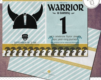 Printable Viking Birthday Invitations (Digital File, Printing Available)