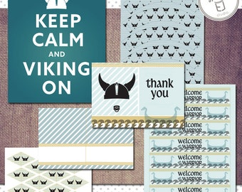 Printable Viking Baby Shower Decorations (Digital File, Printing Available)