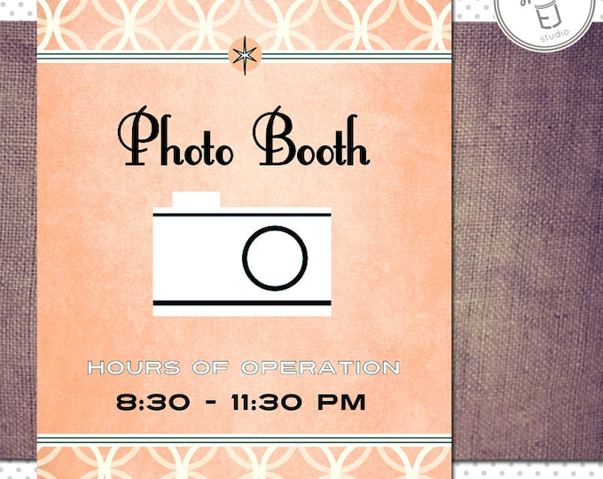 Printable 18 x 24 inch Vintage Modern Style Photo Booth Sign and 8.5 x 11 inch Instruction sign (Digital File Only)