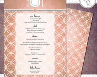 Printable Vintage Modern Style Wedding Reception Menu, (5.5 x 8.5 inch Digital File, Printing Available)