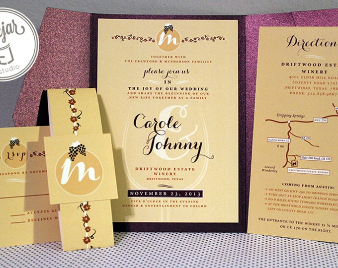 Winery Themed Wedding Invitations (5 x 7 inch, Metallic Panel Insert Folder and Envelope)