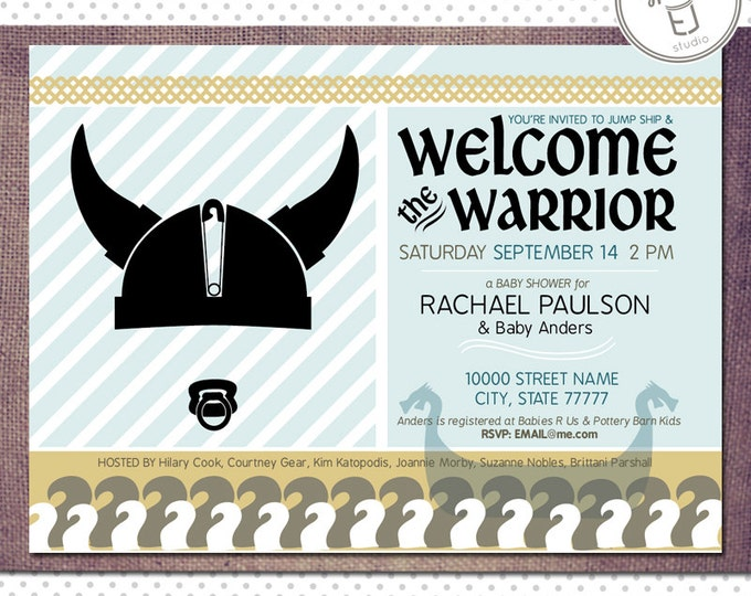 Printable Warrior Viking Baby Shower Boy Invitations (Digital File, Printing Available)