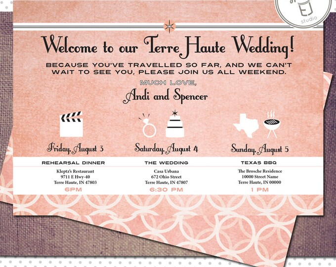 Printable Vintage Modern Style Welcome to the Wedding Card for Guests (6 x 4.25 inch Digital File, Printing Available)