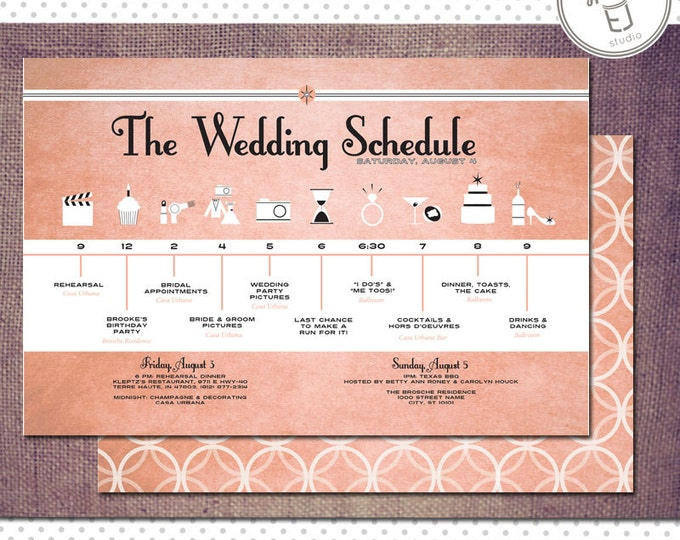 Printable Vintage Modern Style Wedding Schedule (8.5 x 5.5 inch Digital File, Printing Available)
