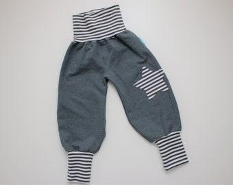 Pump pants STERN, desired size 50-116, baby pants, grey, ringlet
