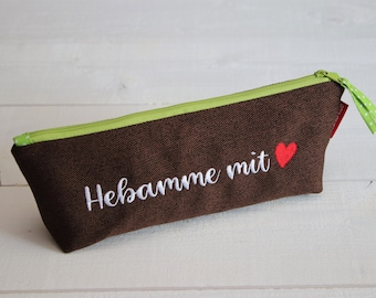 Pencil case midwife with HEART, embroidered, gift
