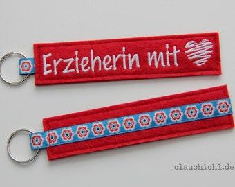 """Schlüsselanhänger """"Erzieherin mit Herz"""" rot"""
