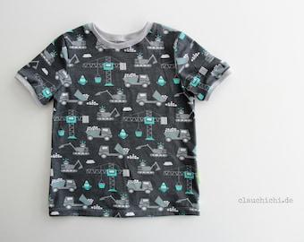 Shirt excavator t-shirt construction site size 74-140 Wish size children's clothing grey turquoise mint