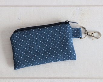 Key bag blue with dots, mini purse, made of jeans