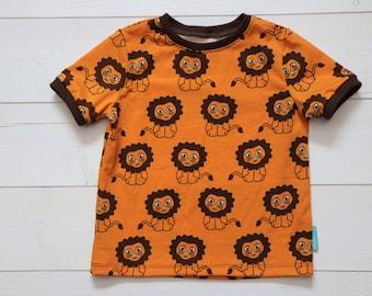 T-shirt with lions, size 74 - 140 children, orange