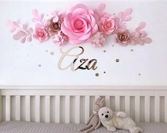 Set of 7 Premium Quality Paper Flowers - Luxury Paper Flowers - Baby Girl Room Paper Flowers (code:#113)