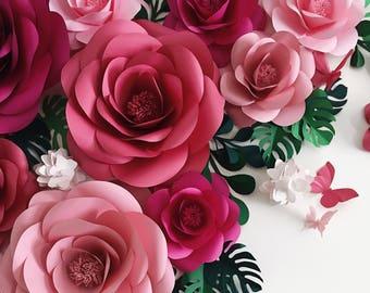 Paper flowers - Fleur en papier - Wedding Paper Flowers - Paper Flower Backdrop- Paper Flower Wall