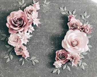 16 Piece Paper Flower Wall Decor - Set of 16 Paper Flowers for Nursery Wall Decor - Nursery Wall Decor ( code:#191)