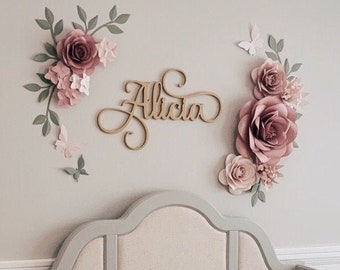 Paper Flowers Wall Decor - Name Sign and Paper Flowers Wall Decor - Nursery Wall Paper Flowers -  (code:#199)