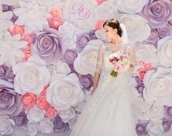 Wedding paper flower etsy paper flower backdrop unique paper flowers backdrop paper flowers wedding paper flowers mightylinksfo