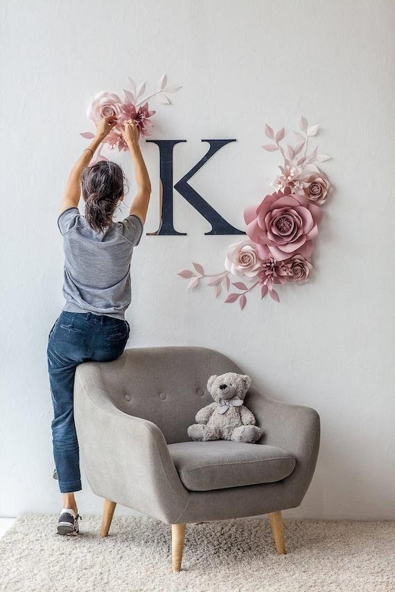 Decor Mural Chambre D Enfant Personnalise Papier Fleurs Decoration Murale Rose Signe De Chambre De Bebe Personnalise