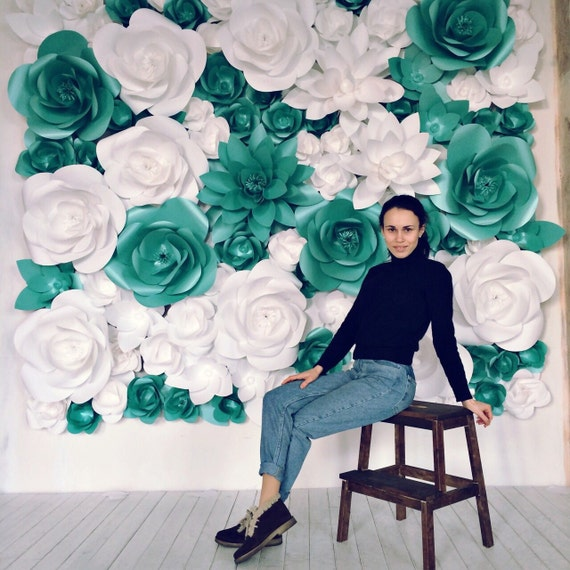Giant paper flowers wall paper flower wall wedding wall etsy image 0 mightylinksfo