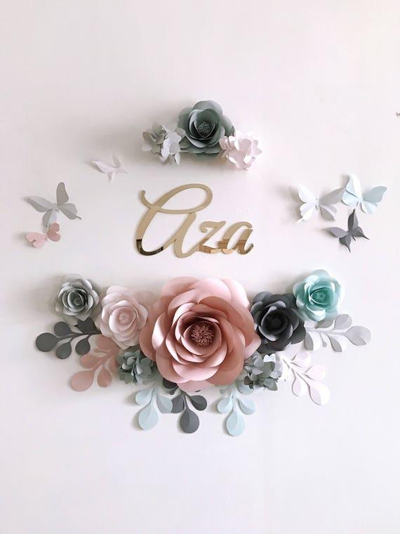Pastel flores de papel para bebé vivero chica decoración de la | Etsy