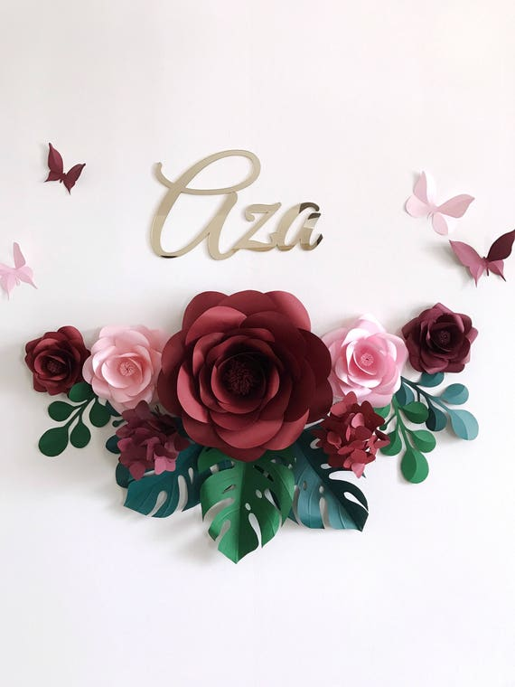 Conjunto de 7 flores de papel para pared chica bebes