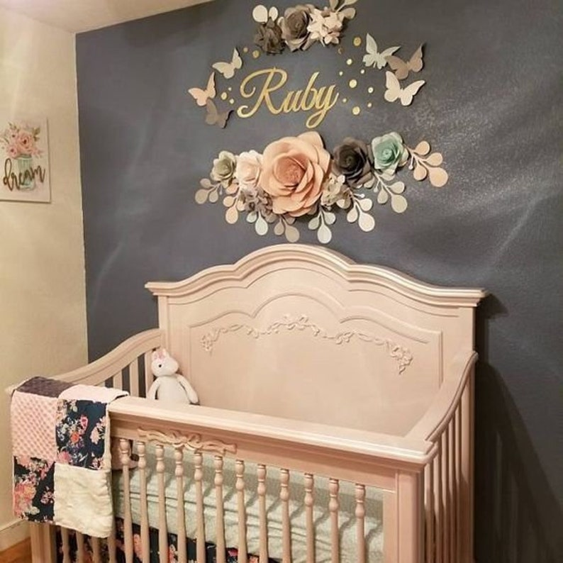 Pastel Paper Flowers For Baby Girl Nursery Wall Decor Paper Flowers Over The Crib Paper Flowers Above The Crib Code 128