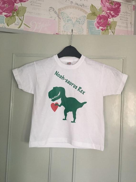 Kids Personalised Dinosaur T-Shirt Any Name and Date Children/'s Birthday Dino