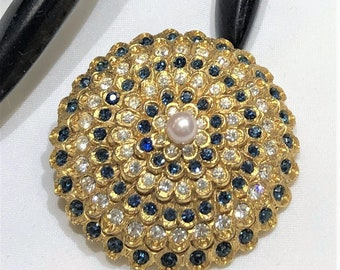 Pretty Vintage Rifas Blue and Clear Rhinestone Faux Pearl Tiered Brooch