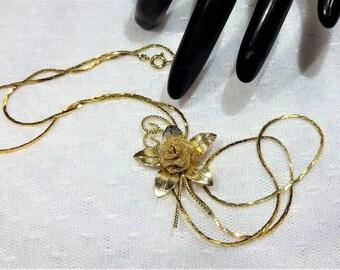Vintage Textured Gold Tone Mesh Flower Slider Necklace