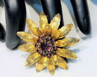 Pretty Vintage Purple  Rhinestone Tiered Floral Brooch