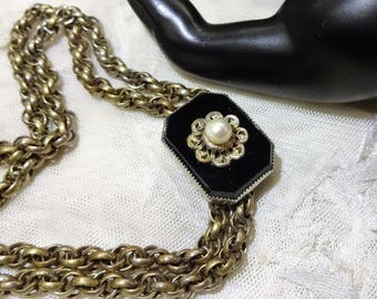 Vintage Art Deco Style Black Glass and Faux Pearl Slider Necklace