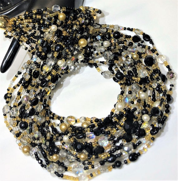 Beautiful Joan Rivers Black, Topaz Bead, AB Glass