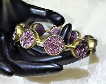 Vintage  Purple Rhinestone and Glitter Bangle