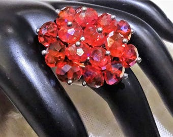 Vintage AB Crystal Bead Dinner Ring
