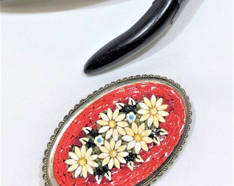 Beautiful Vintage Oval Floral Mosiac Milleifiori Brooch