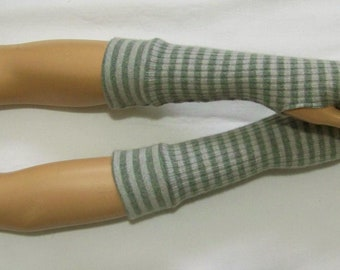 Mix of materials,Short,Stripes in gray and green melange,Knit,Jersey,Arm Warmers,Soft,Thin,Delicate,Gloves with Thumb Holes IDEAL for HER