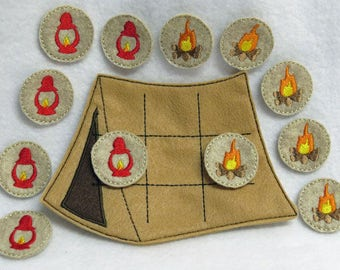 Camping Tent Tic-Tac-Toe Game with Back Pouch