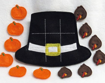 Pilgrim Hat Tic-Tac-Toe Game with Back Pouch with 12 Pieces