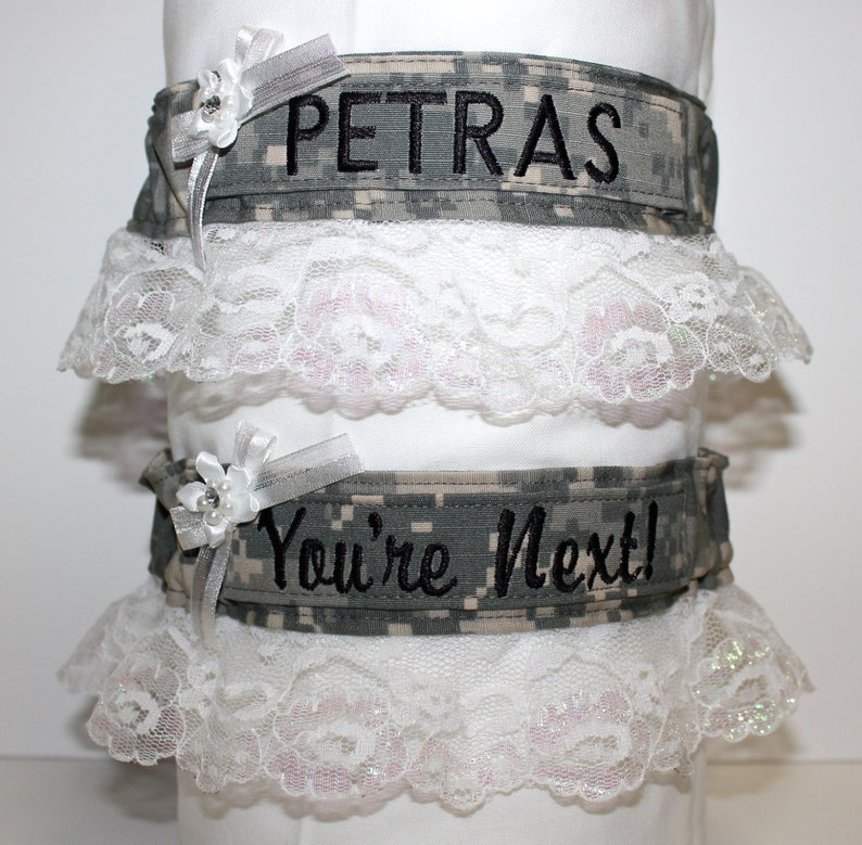 Air Force Wedding Garter: Military Bridal Garters White Lace Army Navy Marines &