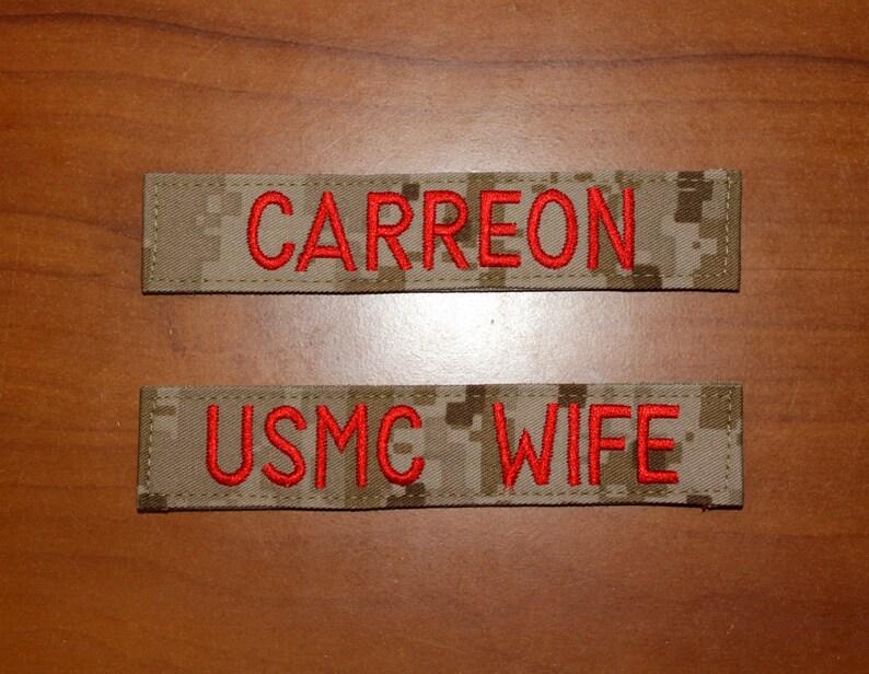 Custom Marines Nametape MARPAT Desert or Woodland image 0