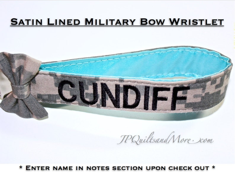 Satin Lined Custom Bow Military Wristlet  Army Navy Air image 0