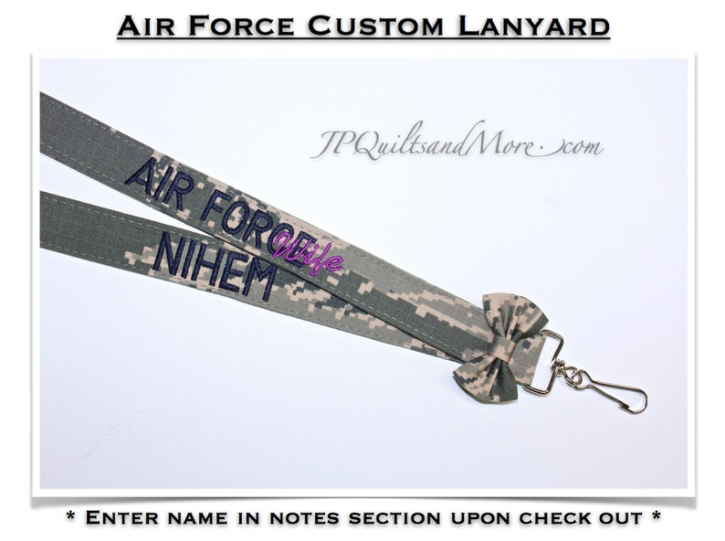 Custom Camo Bow Air Force Lanyard image 0