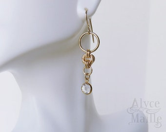 Crystal and 14kt Gold Filled Earrings - 14kt Gold Crystal Earrings - Crystal and Gold Knot Earrings - Crystal Drop Earrings - Love Knot