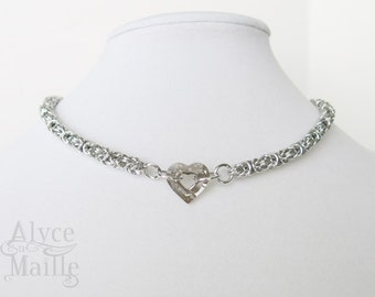 Crystal Heart Chainmaille Necklace - Heart Necklace - Crystal Choker Gift For Her - Heart Necklace - Unique Crystal Necklace