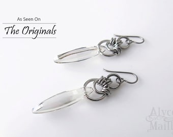 As Seen on The Originals Aurora's Crystal Shard Earrings - Silver Earrings - Crystal Earrings Stainless Steel Crystal Drop Statement Earring