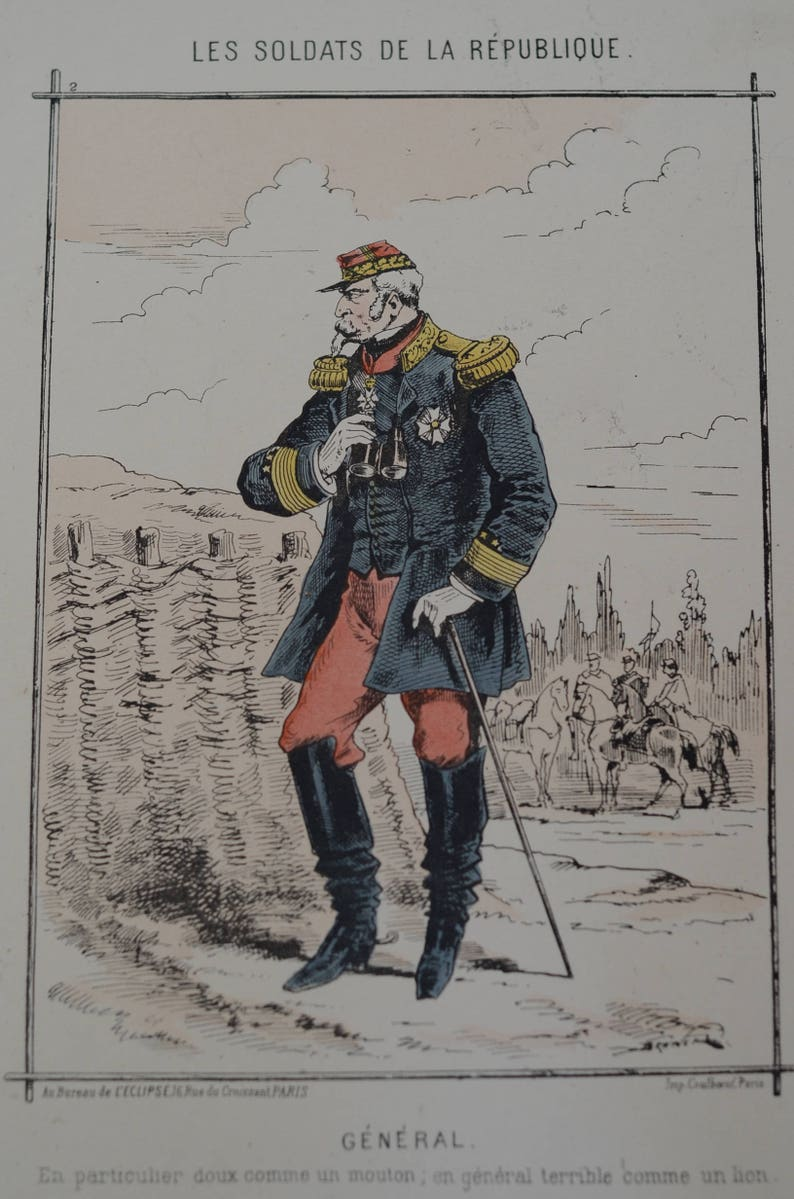 French Antiques- French Antique Prints Lithographs - Les Soldats de la  Republique -Early 1900 Prints of French Military- Set of Four 4