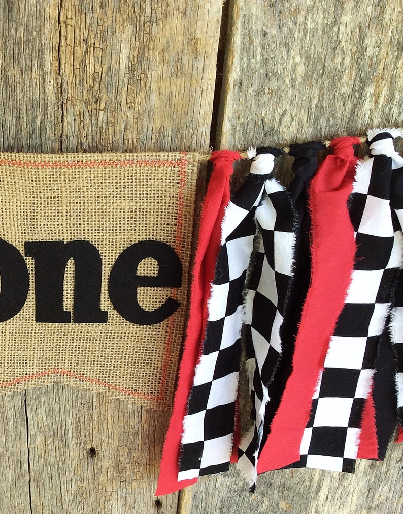 Racing High Chair Banner Checkered Flag Race Car First Birthday Party Decorations