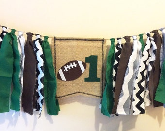Football Highchair High Chair Banner First Birthday Sports Theme Nursery Decor