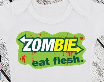 Bodysuit or Toddler Shirt, Zombie Eat Flesh, Baby Bodysuit, Baby Shower Gift, Girls, Boys